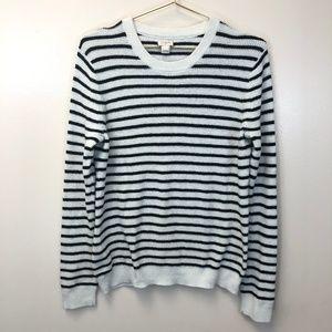 J. Crew Black White Striped Sweater Large